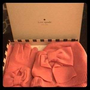 NWT pink Kate Spade knit hat and matching gloves